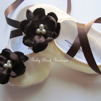 Cream Dupioni Baby Shoes Ballerina Slippers with Chocolate Brown Flower Embellishment