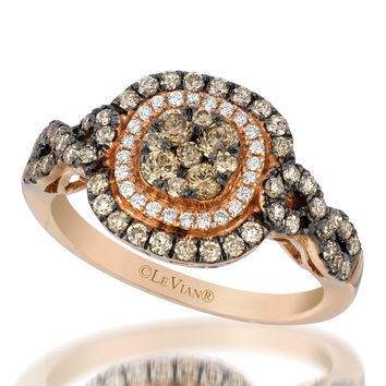 Le Vian® 0.90 Carat Chocolate and Vanilla Diamond® Cushion Shaped Halo Ring Set in 14K Strawberry Gold®