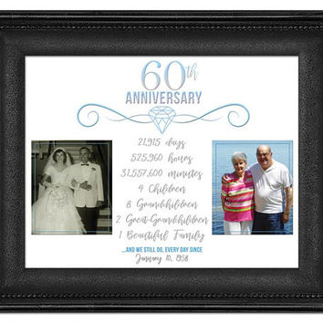 60th Anniversary Gift - Diamond Anniversary Photo Print - Grandparent Anniversary Gift - Then and Now We Still Do Blue - 60th Wedding Print