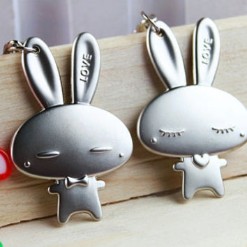 Words engraved )a pair of hare rabbit coney Keychain  for couples(Total is 2 pieces)