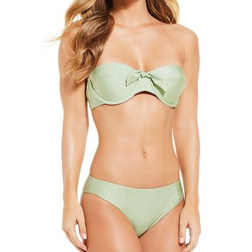 Chelsea & Violet Solid Sage Molded Underwire Bandeau Bikini Top & Hipster Swimsuit Bottom | Dillard's