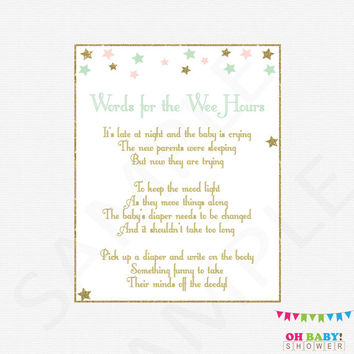 Words for the Wee Hours Baby Shower Game Late Night Diapers Twinkle Twinkle Little Star Baby Shower Pink Mint Gold Printable Download STPMG