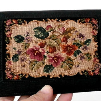WOMEN'S WALLET- Compact Clutch Vintage Black Needlepoint  with Floral Tapestry, Money Purse