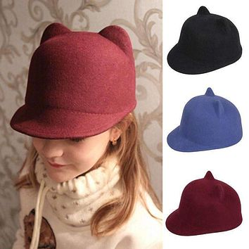 2015 Fashion Winter Wool Child Baseball Hat Girl Boy Snapback With Devil Horns Cute Cat ear hat animal Derby Bowler lovely Cap