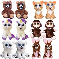 Feisty Pets Funny Change Face Plush Toys Animal Dolls Children Toys For Girls Prank Toy Christmas Gift Fast Shipping