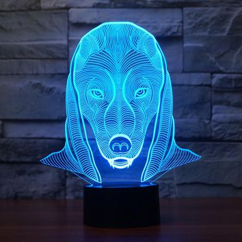 3D Illusion Night Light  LED Light 7 Color with Touch Switch USB Cable Nice Gift Home Office Decorations,Aliens