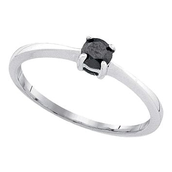 10kt White Gold Women's Round Black Color Enhanced Diamond Solitaire Bridal Wedding Engagement Ring 1/4 Cttw - FREE Shipping (USA/CAN)
