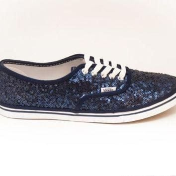 CREYONS Sequin Starlight Navy Blue Custom Vans Canvas Lo Pro Sneakers Shoes