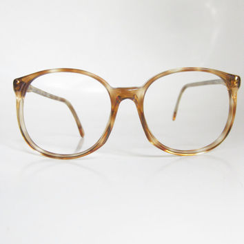 70s Oversized Eyeglasses Vintage Eyewear Womens Round Wayfarer Optical Frames Light Brown Tortoiseshell Fawn German Germany Transparent