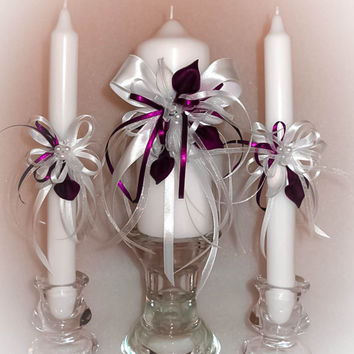 """Handmade Wedding Unity Candles """"Deep Purple Calla Lilies"""", Pillar Candle, Taper Candles, Personalized Candles, Unity Candle Set"""