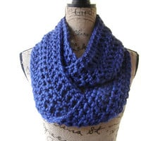 Ready To Ship Royal Cobalt Blue Chunky Scarf Fall Winter Women's Accessory Infinity