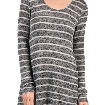 Striped Long Sleeve Knit Tunic Top