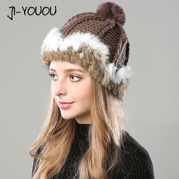 winter hats for women beanie girls 2017 hat fur pompom knitted crocheted hat for women's rabbit Skullies cashmere mink warm hat