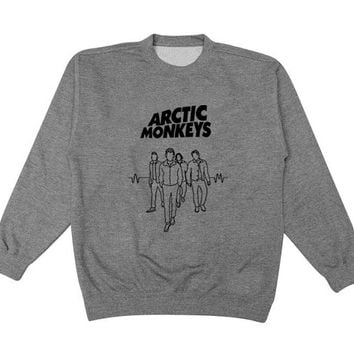 new band arctic monkeys sweater Gray Sweatshirt Crewneck Men or Women for Unisex Size with variant colour
