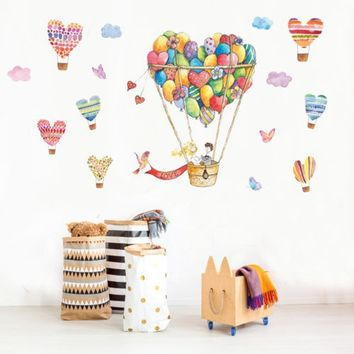 CA Cute Hot-air Balloon & Heart Wall Decal Art Stickers Vinyl Home Room Decor