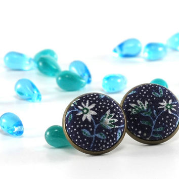 Blue Flowers Stud Earrings - Earring Studs - Remind Me William Morris - Turquoise and White Fabric Buttons Jewelry - Earring Posts