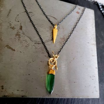 Black Chain Gold and Emerald Green Stone Tiny Spike Pendant Necklace, Feminine Edgy