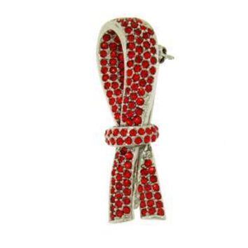 Platinum-Plated Swarovski Crystal Red Ribbon Design Brooch/Pin (1/2 inch x 2 inches)