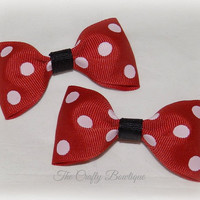 Red & White Polka Dot ~ Clippie Hair Bow Set ~ Minnie Mouse Bows ~ Ladybug Bows ~ Baby Toddler Bows ~ Small Hair Bows ~ Matching Girls Bows