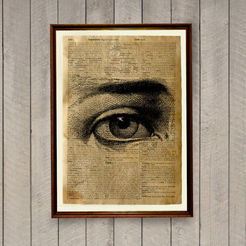 Vintage decor Old dictionary print Human eye illustration Anatomy poster