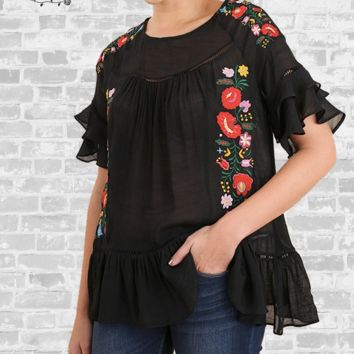 Embroidered Ruffle Top - Black