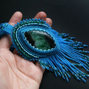 embroidered pendant, beaded pendant, seed beads pendant necklace, agate necklace pendant, embroidery, beaded jewelry, blue fringe necklace