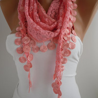Pink Lace Scarf- Shawl Headband - Cowl with Lace Edge by DIDUCI