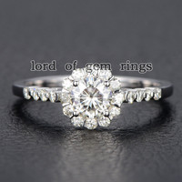 Round Moissanite Engagement Ring 14K White Gold 5mm