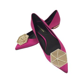 Nicholas Kirkwood Fuschia Satin Evening Flats