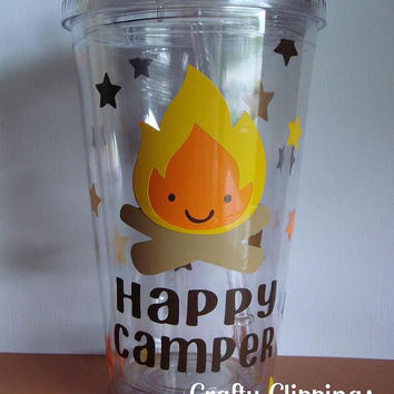 Tumbler, Camping party Gift, Happy Camper, Party Favor, Birthday Gift, Campfire, Glamping
