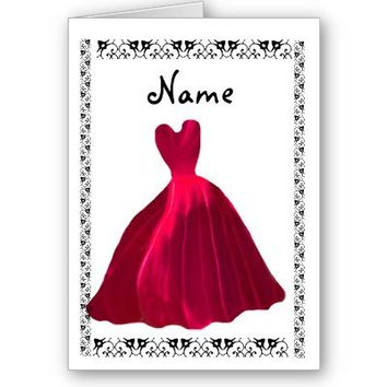 Be My Bridesmaid or any Wedding Role Invitation ROSE RED Velvet Gown Customizable
