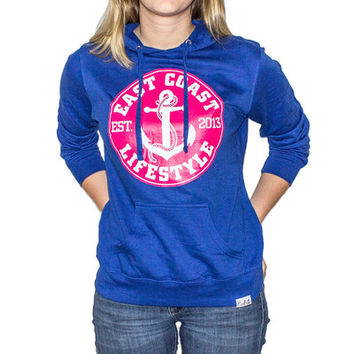 Ladies Cobalt Hoodie with Pink Anchor - EastCoast Lifestyle
