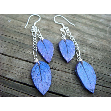 Sterling silver earrings and polymer clay  Blue and by JustClayin