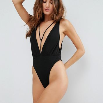 Motel Plunge Strappy Swimsuit at asos.com