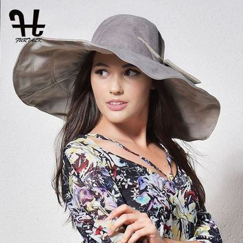 LMFUX5 FURTALK summer hats for women with big brim double-sided foldable brimmed female beach sun hat with big bowknot