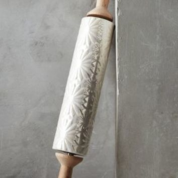 Raised Bloom Rolling Pin by Anthropologie in Off White Size: One Size Kitchen