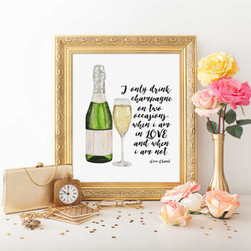 "Chanel Wall Art ""I Only Drink Champagne"" Typography Print Coco Chanel Quote Printable Wall Art Gallery Wall Print Fashion Quote Fashion Art"