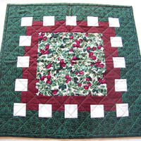 Quilted Table Topper, Cherries, Square