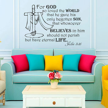 Wall Decal Quote For god so loved the world... John 3:16 Bible Verse Wall Vinyl Decal Words Bedroom Home Decor Art Vinyl Quotes Sticker KV39
