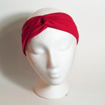 Red Turband Headband, Twist Headband, Knotted Head Wrap, Primary Red Hairwrap, Womens Headbands, Free US Shipping, Fashion Accessories