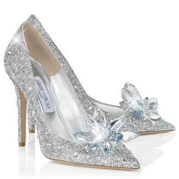 Wedding Shoes Super High Heels Cinderella Crystal Shoes Bride Shoes Women's Shoes High Quality - Beauty Ticks