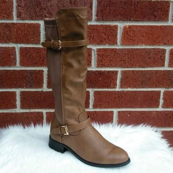 Women's Camel Color Boot with Stretch Band