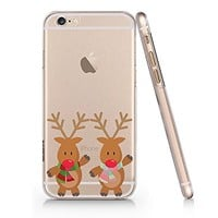 Cute Reindeer Merry Christmas Clear Transparent Plastic Phone Case for iphone 6 6s_SUPERTRAMPshop