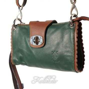 Italian Green Genuine Leather Clutch with Shoulder Strap