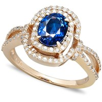 Effy Collection 14k Rose Gold Ring Sapphire 1 3 8 Ct T W And Diamond Oval   Band Jewelry Jewellery Golden