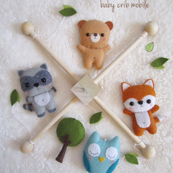 woodland baby mobile forest nursery decor custom colors - Woodland Nursery Decor