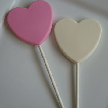 12 Chocolate Pink Heart Lollipops Valentine's Day Favors Love Quinceanera Wedding Sweet Sixteen