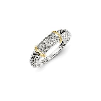Antique Style Sterling Silver with 14k Gold 1/8ct. Diamond Ring