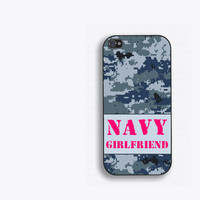 US Navy Girlfriend iPhone 5 Case - iPhone 5s/5c Case, Digital NWU camo with pink text, US Navy gift, proud Navy girlfriend, Navy iphone case