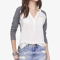 MIXED FABRIC HENLEY TEE from EXPRESS